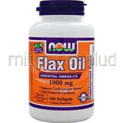 Flax Oil 1000mg - Certified Organic 100 sgels NOW