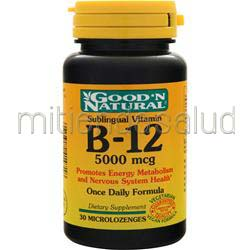 B-12 5000mcg Sublingual 30 lzngs GOOD 'N NATURAL