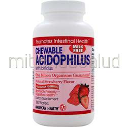 Chewable Acidophilus with Bifidus Natural Strawberry Flavor 100 wafrs AMERICAN HEALTH