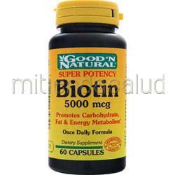Biotin 5000mcg 60 caps GOOD 'N NATURAL