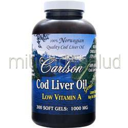 Cod Liver Oil Gems - Low Vitamin A 1000mg Lemon 300 sgels CARLSON
