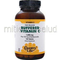 Buffered Vitamin C - Time Release 1000mg 100 tabs COUNTRY LIFE