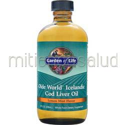 Olde World Icelandic Cod Liver Oil Lemon Mint 8 fl oz GARDEN OF LIFE