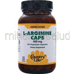 L-Arginine Caps 500mg 100 caps COUNTRY LIFE