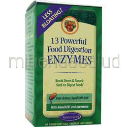 13 Powerful Food Digestion Enzymes 60 sgels NATURE'S SECRET