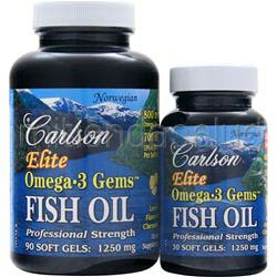 Elite Omega-3 Gems Fish Oil 1250mg Chewable Lemon 90con30 Shrink Wrap 120 sgels CARLSON