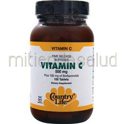 Buffered Vitamin C - Time Release 500mg 100 tabs COUNTRY LIFE