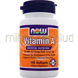 Vitamin A 25,000IU 100 sgels NOW