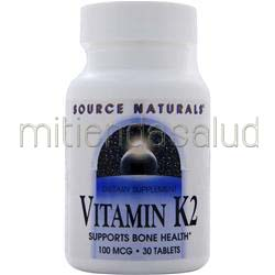 Vitamin K2 100mcg 30 tabs SOURCE NATURALS
