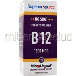 MicroLingual No Shot Cyanocobalamin B12 1000mcg 100 tabs SUPERIOR SOURCE