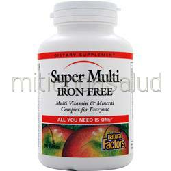 Super Multi - Iron Free 90 tabs NATURAL FACTORS