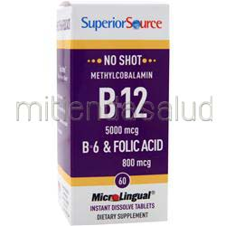 MicroLingual No Shot Methylcobalamin B12 5000mcg con B6 & Folic Acid 800mcg 60 tabs SUPERIOR SOURCE