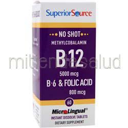 MicroLingual No Shot Methylcobalamin B12 5000mcg con B6 & Folic Acid 800mcg 60 tabs SUPERIOR SOURCE