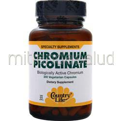 Chromium Picolinate 200mcg 200 caps COUNTRY LIFE