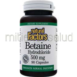 Betaine Hydrochloride 500mg 90 caps NATURAL FACTORS