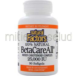 BetaCareAll Mixed Carotenoid Complex 25000IU 90 sgels NATURAL FACTORS
