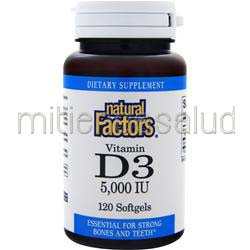 Vitamin D3 5000IU 120 sgels NATURAL FACTORS