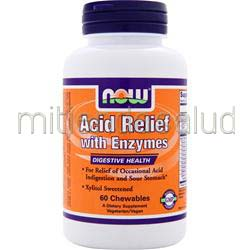 Acid Relief with Enzymes 60 chews NOW