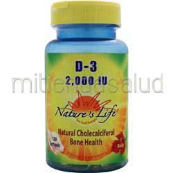 D-3 2,000IU 120 sgels NATURE'S LIFE