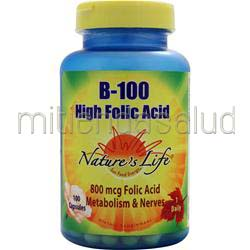 B-100 High Folic Acid 100 caps NATURE'S LIFE
