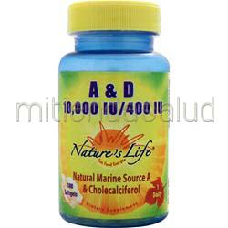 A & D 10,000IU/400IU 100 sgels NATURE'S LIFE