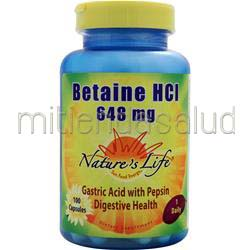 Betaine HCl 648mg 100 caps NATURE'S LIFE