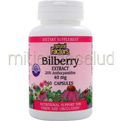 Bilberry Extract 40mg 60 caps NATURAL FACTORS