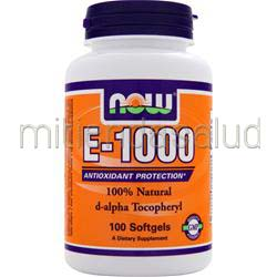 E-1000 d-alpha Tocopheryl 100 sgels NOW