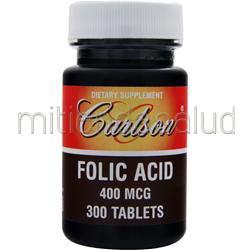 Folic Acid 400mcg 300 tabs CARLSON