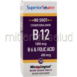 MicroLingual No Shot Cyanocobalamin B12 1000mcg con B6 & Folic Acid 400mcg 100 tabs SUPERIOR SOURCE