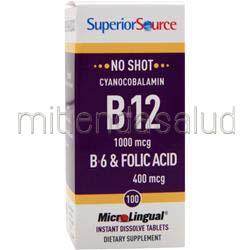 MicroLingual No Shot Cyanocobalamin B12 1000mcg con B6 & Folic Acid 400mcg 100 tabs SUPERIOR SOURCE