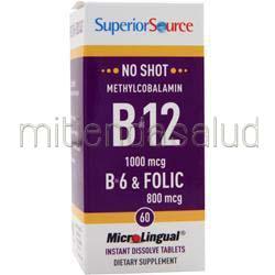 MicroLingual No Shot Methylcobalamin B12 1000mcg con B6 & Folic Acid 800mcg 60 tabs SUPERIOR SOURCE