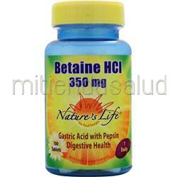 Betaine HCl 350mg 100 tabs NATURE'S LIFE