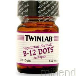 B-12 Sublingual Dots 500mcg 100 dots TWINLAB