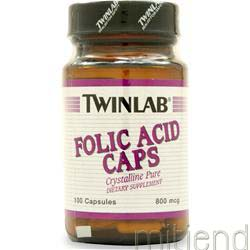 Folic Acid 800mcg 100 caps TWINLAB