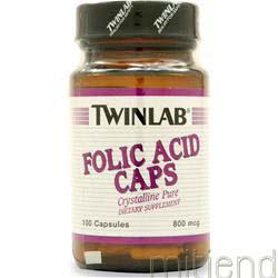 Folic Acid 800mcg 100 caps TWINLAB