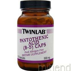 Pantothenic Acid - Vitamin B-5 500mg 100 caps TWINLAB