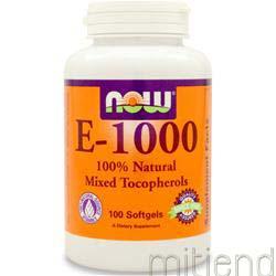 E-1000 100% Mixed Tocopherols 100 sgels NOW