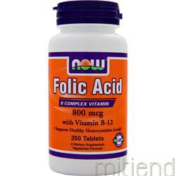 Folic Acid with Vitamin B-12 800mcg 250 tabs NOW