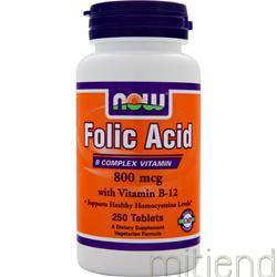 Folic Acid with Vitamin B-12 800mcg 250 tabs NOW
