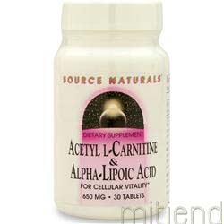 Acetyl L-Carnitine & Alpha-Lipoic Acid 650mg 30 tabs SOURCE NATURALS