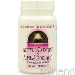 Acetyl L-Carnitine & Alpha-Lipoic Acid 650mg 30 tabs SOURCE NATURALS