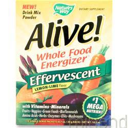 Alive Multivitamin - Effervescent Powder Lemon-Lime 15 pckts NATURE'S WAY
