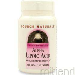 Alpha Lipoic Acid 100mg 120 tabs SOURCE NATURALS