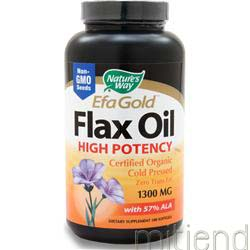 EFA Gold Flax Oil High Potency - Certified Organic 1300mg 100 sgels NATURE'S WAY