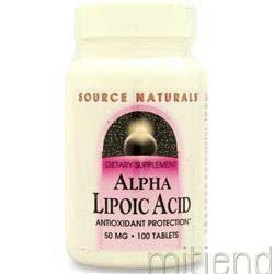 Alpha Lipoic Acid 50mg 100 tabs SOURCE NATURALS