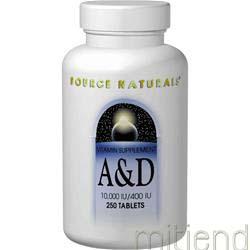 A & D 10000IU/400IU 250 tabs SOURCE NATURALS
