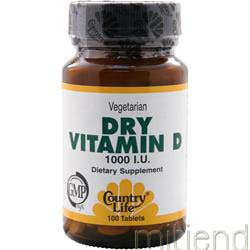 Dry Vitamin D 1000IU 100 tabs COUNTRY LIFE