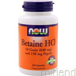 Betaine HCl 120 caps NOW