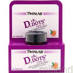 D3 plus K2 Dots Tangerine 60 tabs TWINLAB